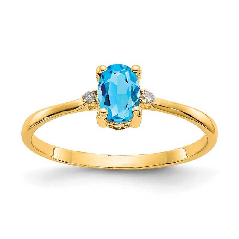 Quality Gold 14k Diamond & Blue Topaz Birthstone Ring