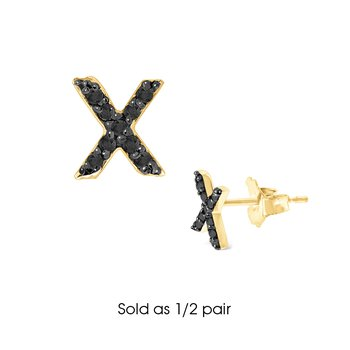 "Black Diamond Single Initial ""X"" Stud Earring (1/2 pair)"