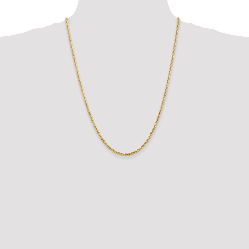 Quality Gold 14k 2.75mm Extra-Light D/C Rope Chain Anklet