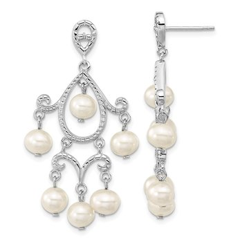 Sterling Silver Rhodium-plated 5-6mm White FWC Pearl Post Dangle Earrings