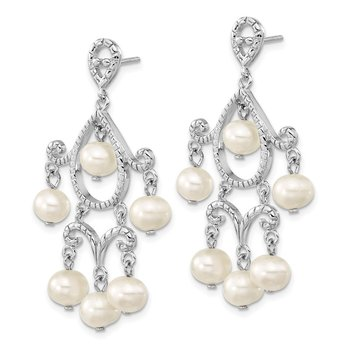 Sterling Silver Rhodium 5-6mm White FWC Pearl Post Dangle Earrings