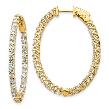 14k Diamond Oval Hoop w/Safety Clasp Earrings