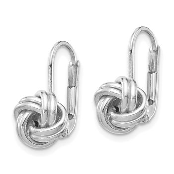 14k White Gold Polished Love Knot Leverback Earrings