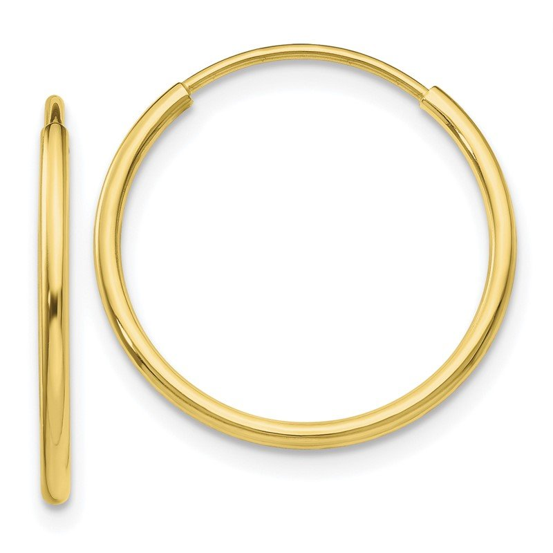 Quality Gold 10k Polished Endless Tube Hoop Earrings