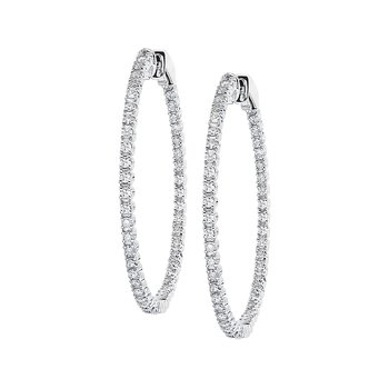 14k White Gold Diamond 35 MM Hoops (1 CT.)