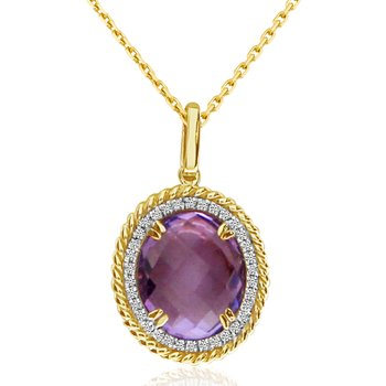 14K Yellow Gold Amethyst Braided Pendant