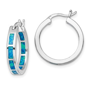 Sterling Silver Rhodium-plated Blue Created Opal In/Out Hoops