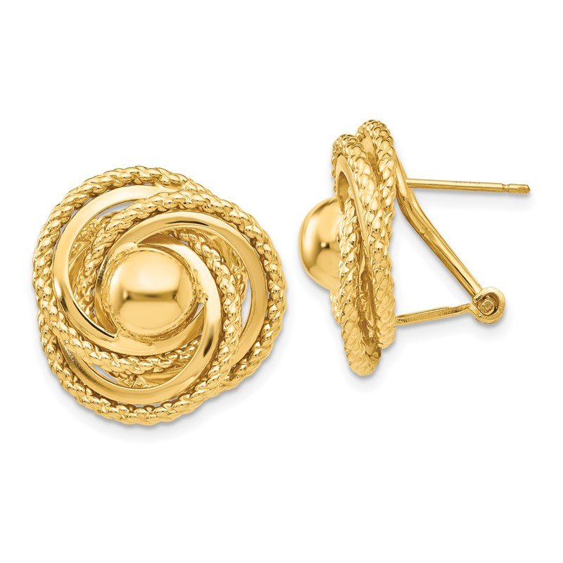 Quality Gold 14k Polished & Twisted Fancy Omega Back Post Earrings