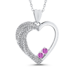 Essentials 10K White Gold 1/2 Ct Diamond with 1/2 Ct Pink Sapphire Heart Pendant with Chain