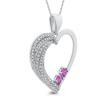 10K White Gold 1/2 Ct Diamond with 1/2 Ct Pink Sapphire Heart Pendant with Chain