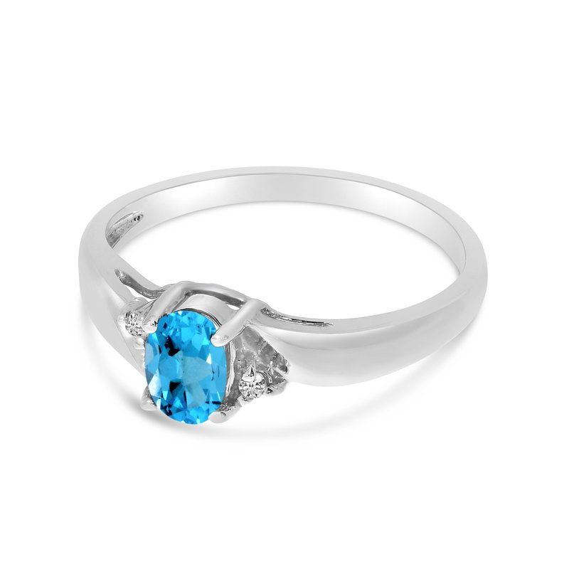 Color Merchants 14k White Gold Oval Blue Topaz And Diamond Ring