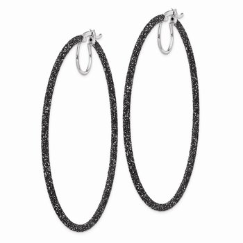 Sterling Silver Rhodium/Black Glitter Enamel 2x55mm Hoop Earrings
