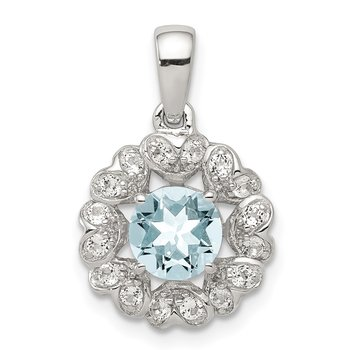 Sterling Silver Rhodium Plated White Topaz Aquamarine Pendant