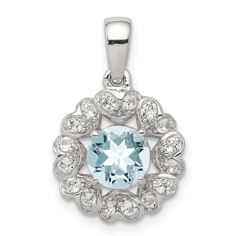 Quality Gold Sterling Silver Rhodium Plated White Topaz Aquamarine Pendant