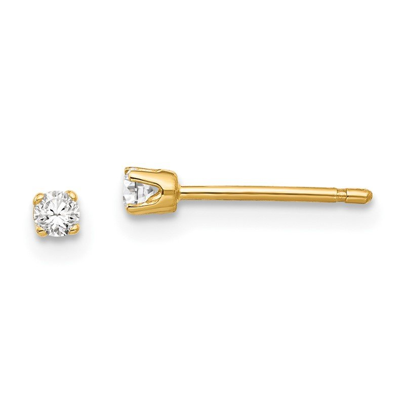 Quality Gold 14k 2.25mm CZ stud earrings