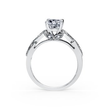 Marquise Diamond Leaf Milgrain Engagement Ring