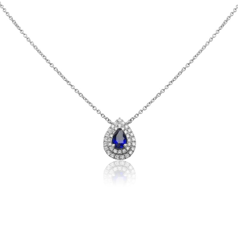 Roman & Jules Pear-shaped Sapphire Double Halo Necklace