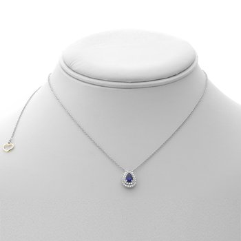 Pear-shaped Sapphire Double Halo Necklace