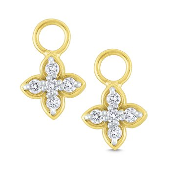 14K Gold and Diamond Floral Earring Charms