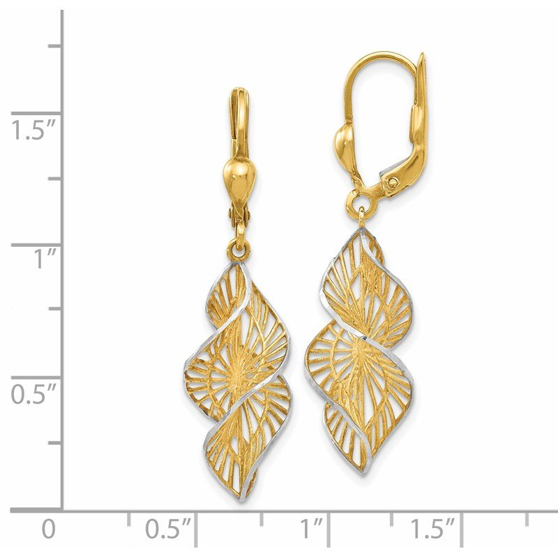 Leslie's Leslie's 14K w/White Rhodium Textured and D/C Leverback Earrings