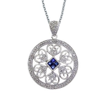 14k White Gold Sapphire and Diamond Filigree Disc Pendant