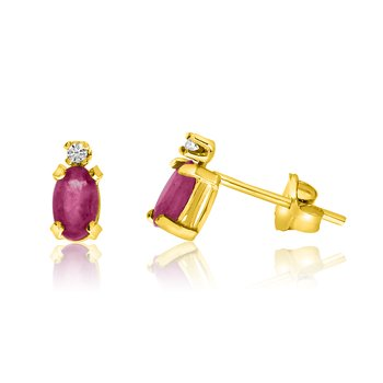 14K Yellow Gold Oval Ruby and Diamond Earrings