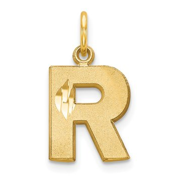 14KY Satin Diamond-cut Letter R Initial Charm