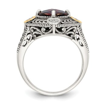 Sterling Silver w/14k Diamond & Garnet Ring