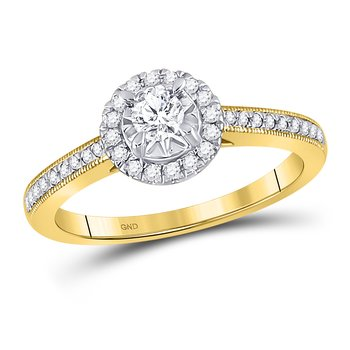 14kt Yellow Gold Round Diamond Solitaire Halo Bridal Engagement Ring 3/8 Cttw
