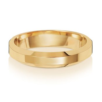 18Ct Yellow Gold 4mm Soft Court Bevelled Wedding Ring