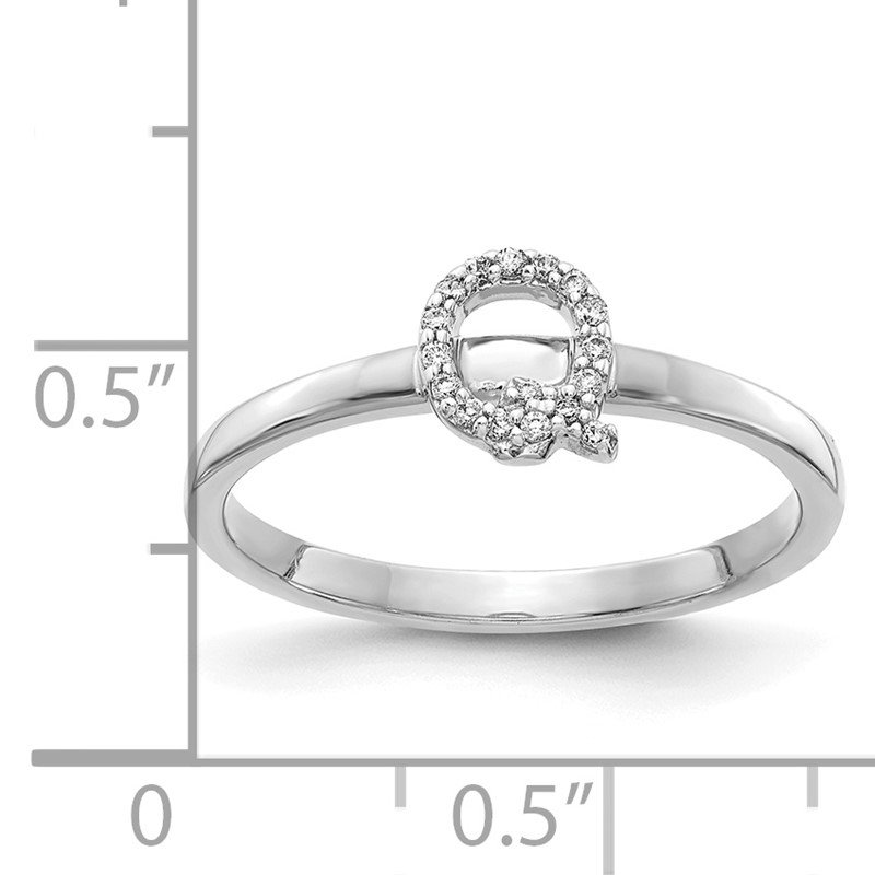 Quality Gold 14k White Gold Diamond Initial Q Ring