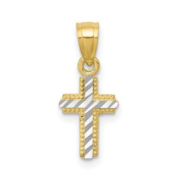 10K w/ Rhodium Tiny Diamond-Cut Cross Pendant