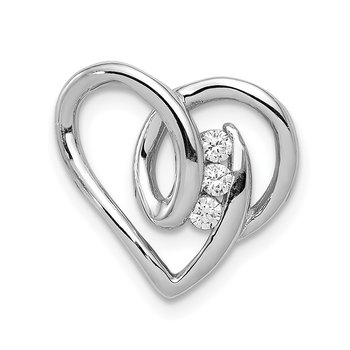 Sterling Silver Rhodium Plated CZ Heart Slide