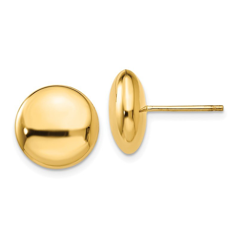 Quality Gold 14k Polished 12mm Button Post Earrings