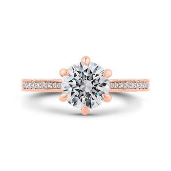 18K Rose Gold Round Diamond Engagement Ring (Semi-Mount)