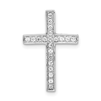 14k White Gold Diamond Cross Slide Pendant