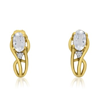 14K Yellow Gold Curved White Topaz and Diamond Earrings