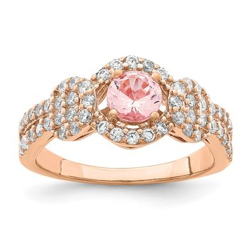 Sterling Silver Rose Gold-plated Imitation PinkSapphire/CZ Ring