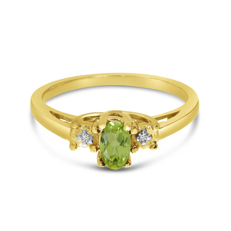 Color Merchants 10k Yellow Gold Oval Peridot And Diamond Ring