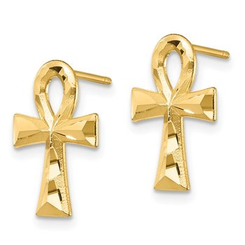 14K Ankh Cross Post Earrings