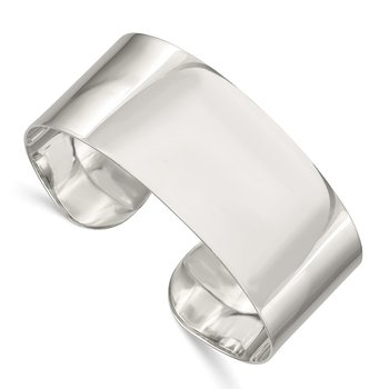 Sterling Silver 25.25mm Fancy Cuff Bangle Bracelet