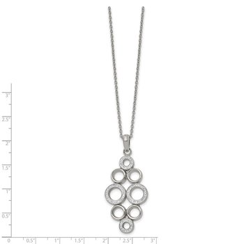 Stainless Steel Polished w/Preciosa Crystal Circle 16in w/2in ext. Necklace