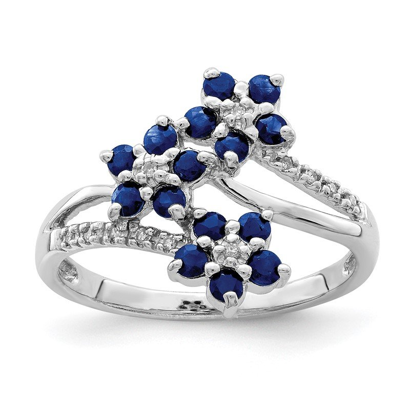 Quality Gold Sterling Silver Rhodium-plated 3 Flower Sapphire and Diamond Ring