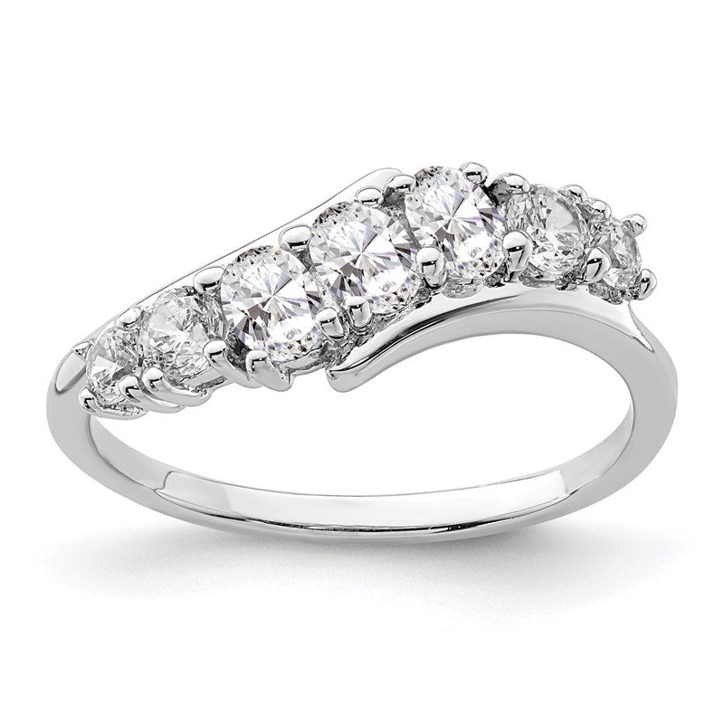 Quality Gold Sterling Silver Rhodium-plated 7-stone CZ Ring