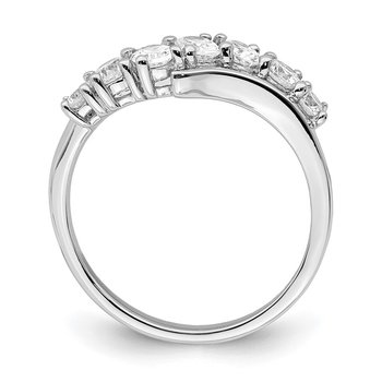 Sterling Silver Rhodium-plated 7-stone CZ Ring
