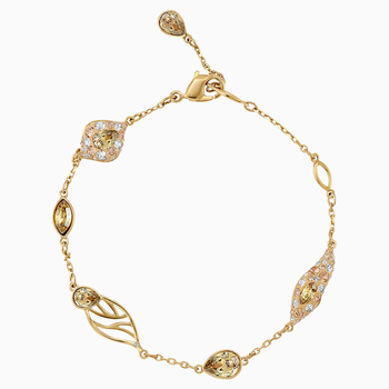 Graceful Bloom Decorative Bracelet, Brown, Gold-tone plated