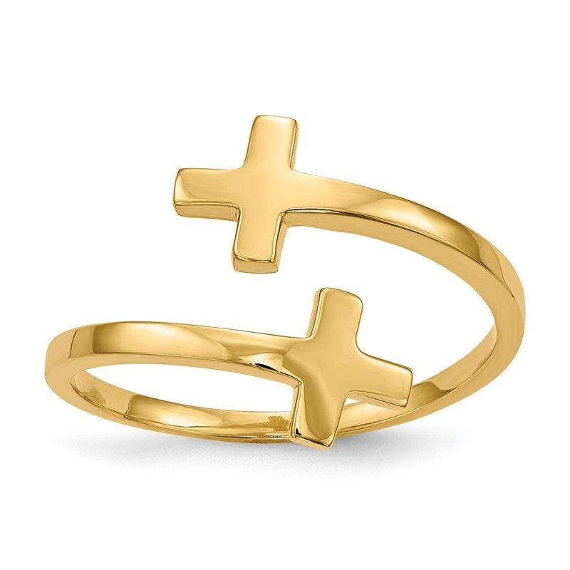 Quality Gold 14k Polished Double Cross Ring