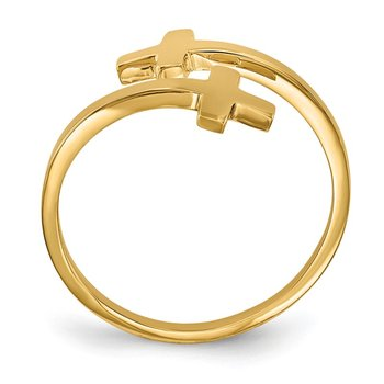 14k Polished Double Cross Ring