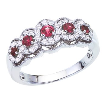 14k White Gold Ruby and Diamond 5 Stone Ring