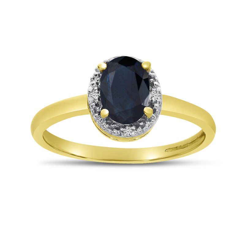 Color Merchants 10k Yellow Gold Oval Sapphire And Diamond Ring